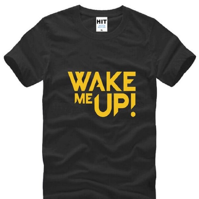 Banda de Rock DJ Avicii Wake Me Up camisetas impresas para hombres de verano de manga corta cuello redondo de algodón para hombres camiseta de Rock camiseta de Hip Hop Homme