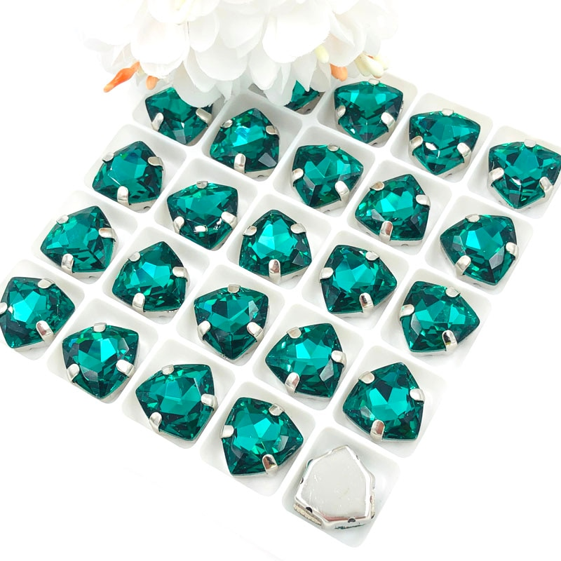 Gran oferta de diamantes de imitación de cristal para coser diy de gran calidad verde malaquita con forma de triángulo grueso de 12mm/accesorios para ropa