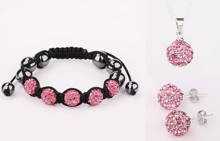 ¡Gran joyería de descuento! Envío Gratis! 10mm Micro Pave Bola de discoteca de cristal conjunto pulseras + pendiente + Collar para las mujeres LJH Hotsale!