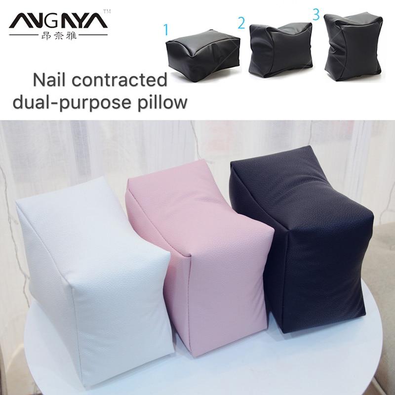 ANGNYA 1Pcs Nail Art Equipment Hand Rest Cushion Pillow Pink Soft PU Leather Foot Hand Holder Dual Use Manicure Nail Tools