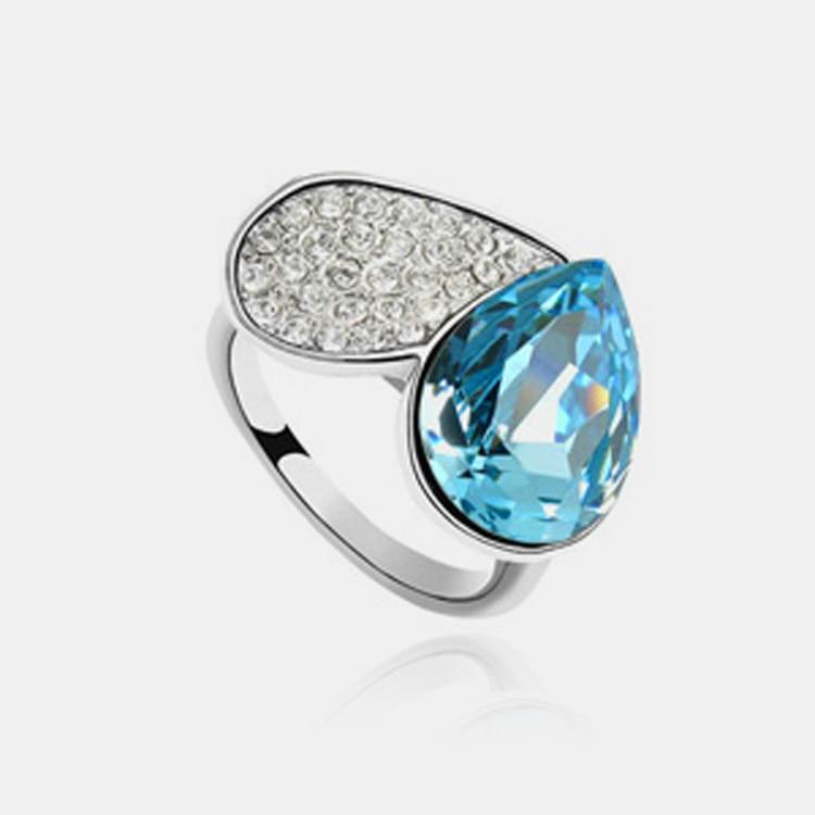 Anillos para las mujeres de moda de anillo de boda de cristal grande de la joyería Anillos De Compromiso bandas de boda amor el anillo nuevo 2014