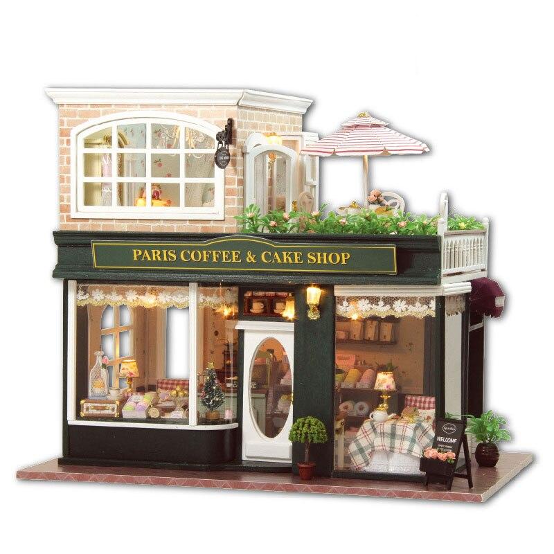 Kit de muebles para casa de muñecas de madera, cafetería en miniatura, cafetería, casa de DIY para muñecas modelo artesanal con luces LED y música, regalo de cumpleaños y Navidad
