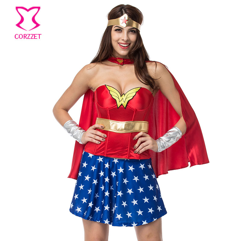 Rojo/azul Superwoman Halloween Carnaval corsé vestido Cosplay Wonder Woman disfraces Sexy para mujeres Deguisement Adultes