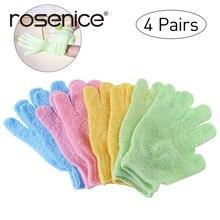 4 Pairs of Shower Exfoliating Bath Gloves Nylon Shower Gloves Body Scrub Exfoliator