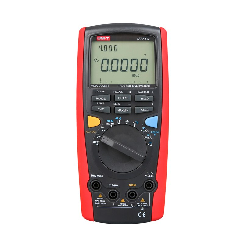 Multímetro Digital inteligente LCD UT71C UNI-T valores eficaces verdaderos amperio CA CC amperio Ohm capacitancia medidor de temperatura con doble retroiluminación