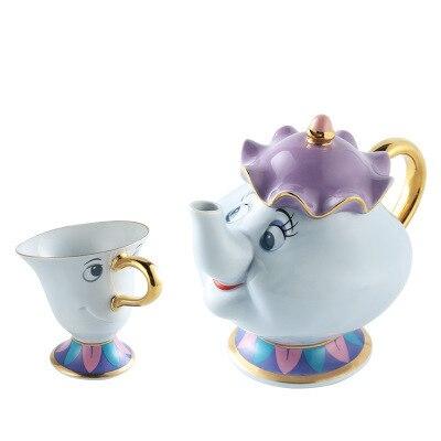 Juego de tazas de café La Bella y La Bestia Sra. Potts y Chip taza de té tetera de porcelana tazas y tazas tetera de dibujos animados