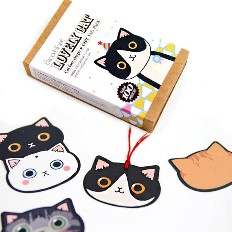 100 marcapáginas + 1 cuerda/juego de marcapáginas de gato encantador mini Tarjeta de mensaje papelería libro titular útiles escolares papelería