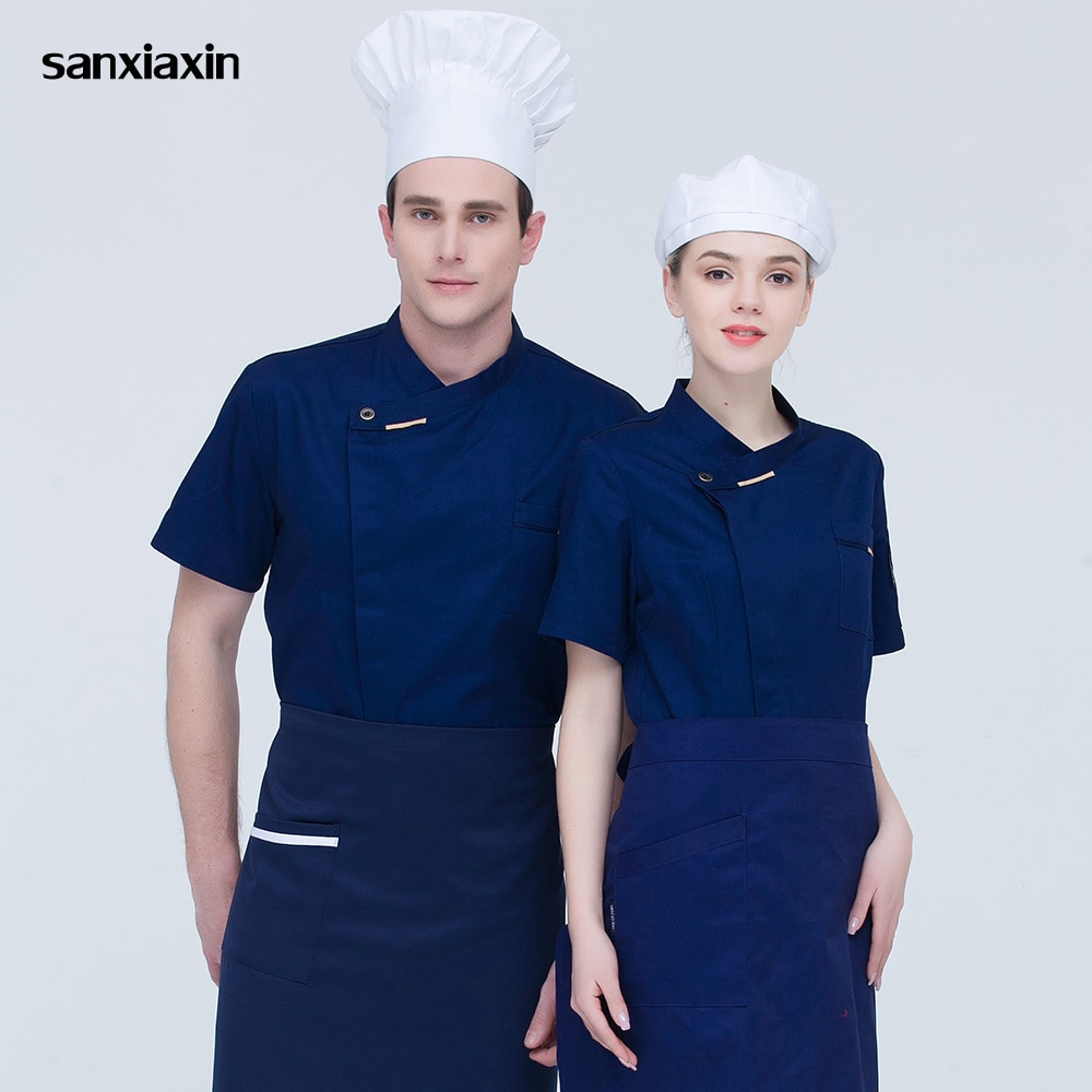 Sanxiaxin, servicio de comida, uniforme de chef, chaquetas de manga corta de alta transpirables, abrigos de chef para restaurante y catering, 5 colores, hombres y mujeres