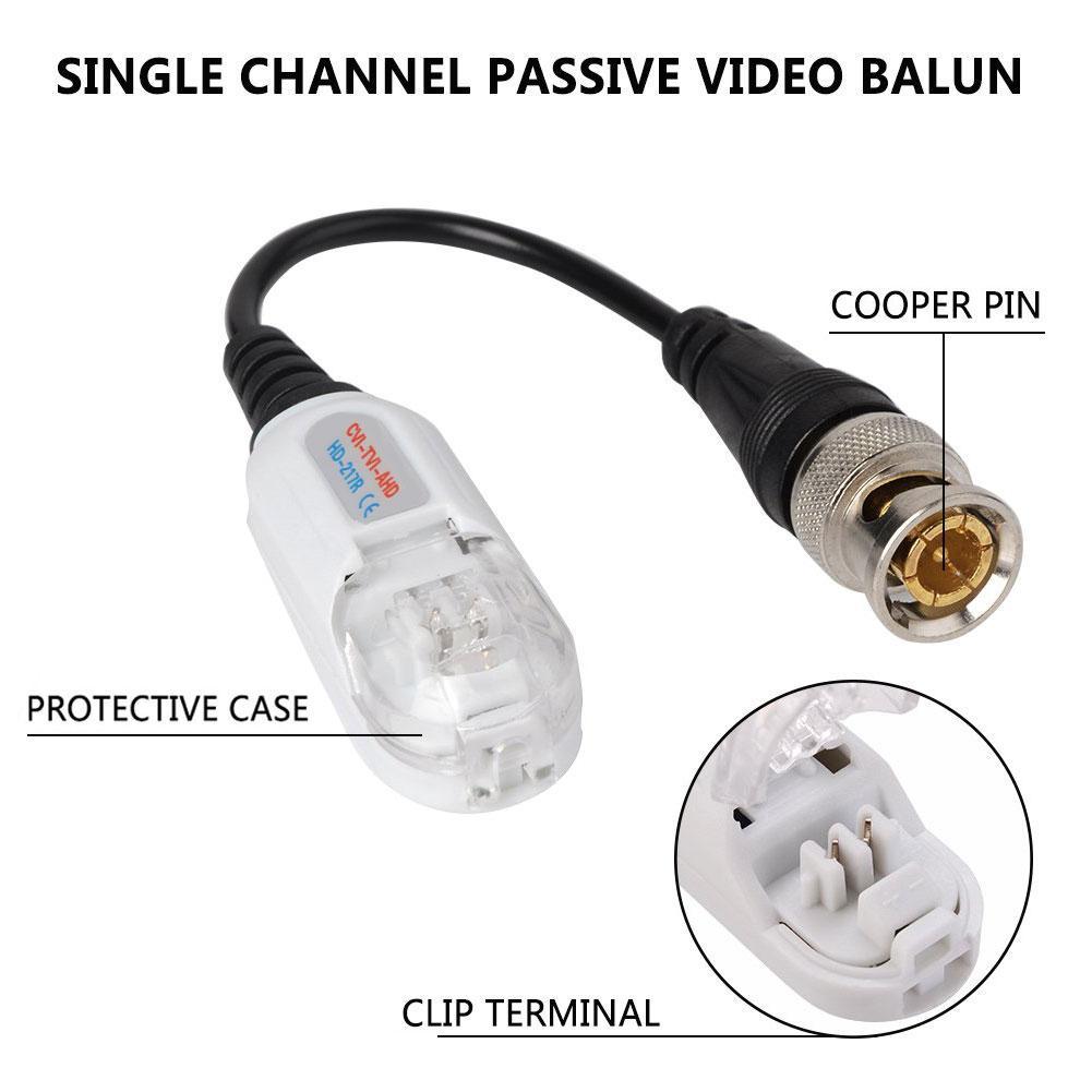 BEESCLOVER 20 piezas CCTV vídeo Balun Anti trueno trenzado transceptor pasivo de vídeo BNC CCTV accesorios r20