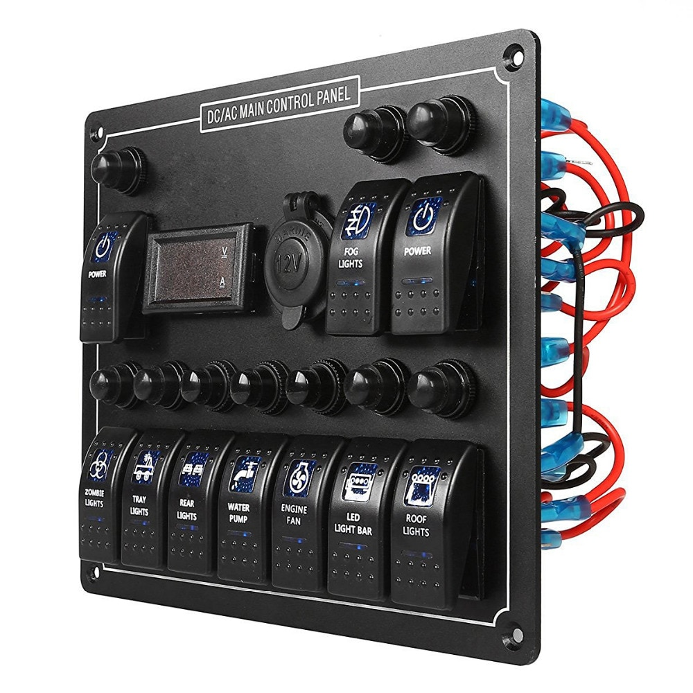 Panel de interruptor basculante 10 Gang Auto/Marine/Boat/Yacht AC/DC Panel de interruptor Carling con voltímetro con toma de encendedor de cigarrillos de 12V