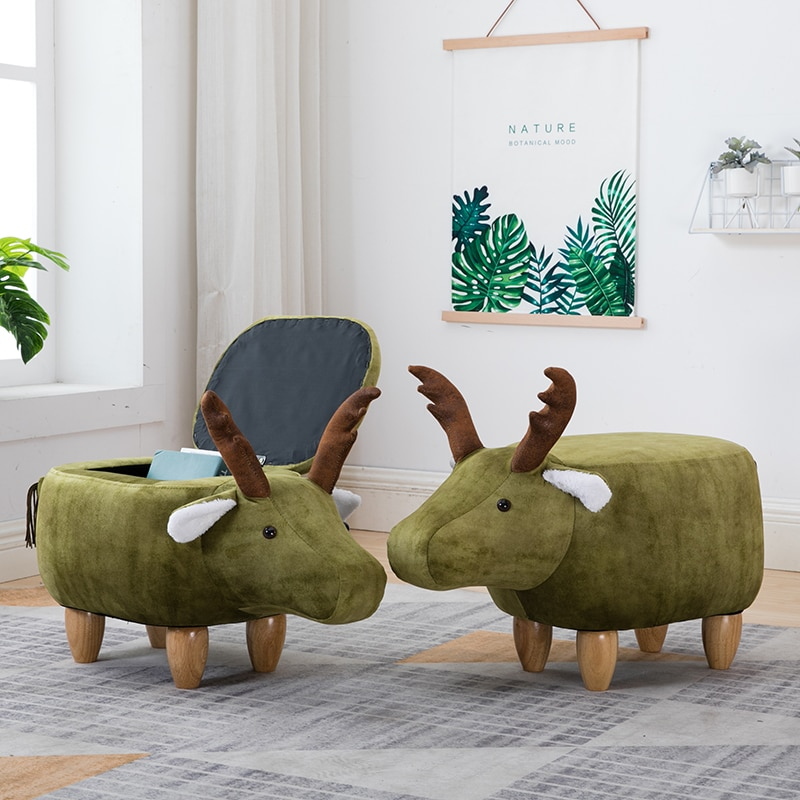 Nordic shoes bench solid wood deer animal shoes bench storage bench sofa stool creative small stool недорого