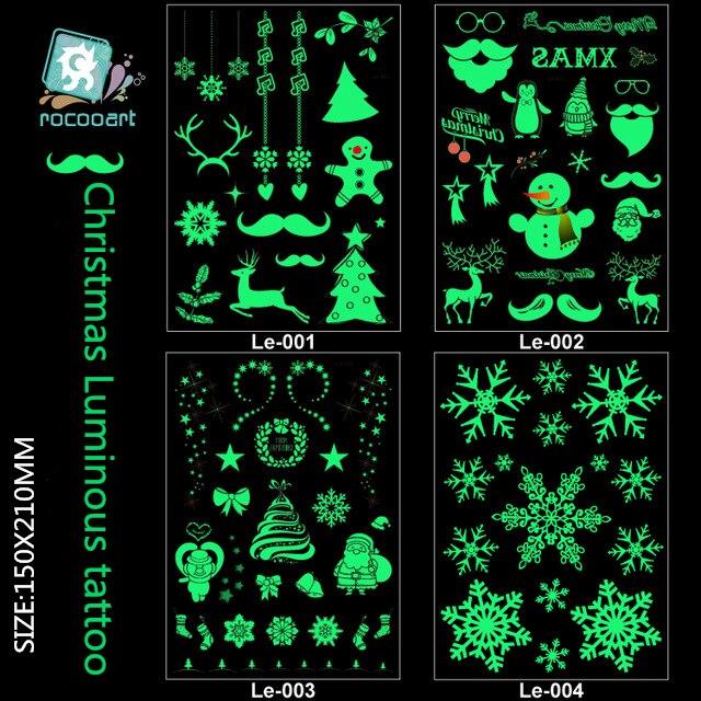 Etiqueta luminosa da tatuagem do tamanho grande para o dia de natal que brilha no escuro pintura temporária falso flash tatuagem adesivos crianças taty