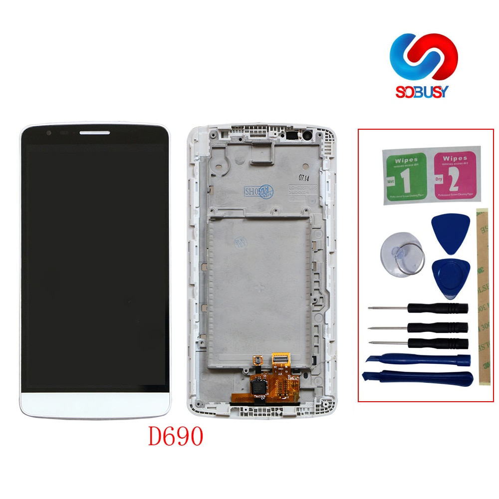 Probado D690 IPS tela para LG G3 Stylus LCD Display D690 LCD Pantalla táctil Panel digitalizador montaje pieza de repuesto + herramienta