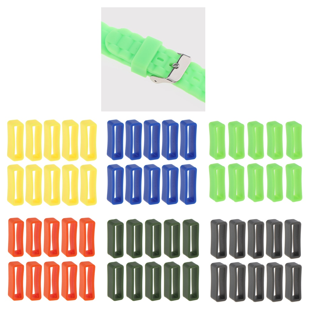 10pcs Silicone Rubber Watch Strap Keeper Holder Hoop Loop Ring Retainer 24mm