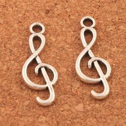 Agudos g clef nota musical encantos pingentes jóias diy l1630 35 pçs 25.5x9.3mm liga de zinco