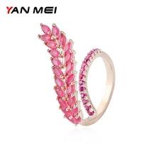 YANMEI Open Adjust AAA Cubic Zirconia rings for women 3 Colors Leaf Ring fashion rings YMJ1807