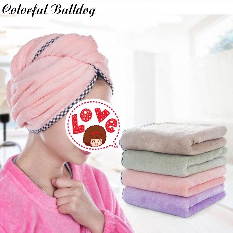 Barato colorido Bath Towe Macio Menina Mulheres toalhas de Banho Super-Absorvente de secagem Rápida Microfibra Cabelo Envoltório de Banho Novos Cabelos Secos cap Salão
