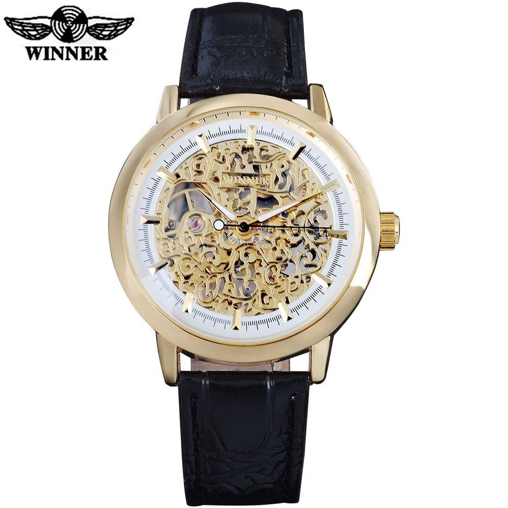 T-WINNER, новинка, популярный бренд, мужские часы, роскошные механические часы с ручным заводом, скелетоны, циферблаты, Золотой корпус, кожаный р...