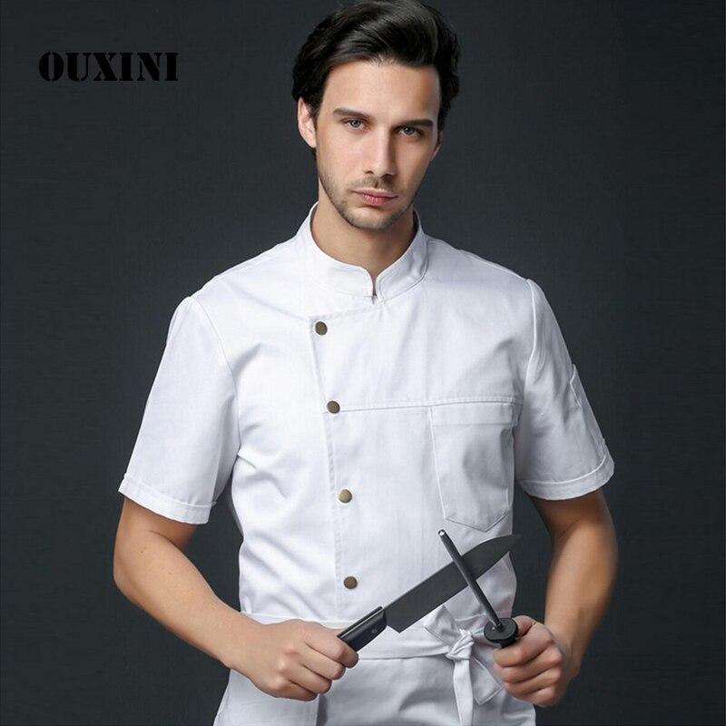Мужская куртка шеф-повара ресторана, пекарни, отеля, кухни, хлопчатобумажная смешанная ткань с коротким рукавом, униформа шеф-повара, костюм...
