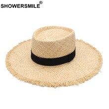 SHOWERSMILE Sun Hats Women Raffia Straw Panama Hat Female Beige Brand Boater Wide Brim 10cm Ladies Fashion Travel Beach Caps
