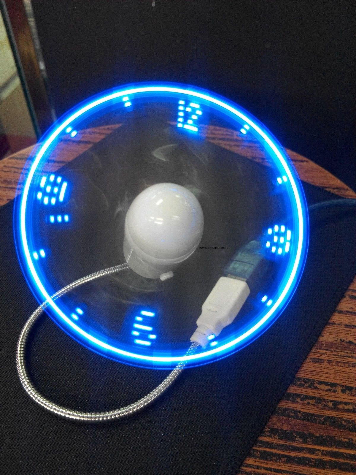 Mini lumière LED Flexible bleu réglable Gadget USB horloge de bureau horloge de bureau