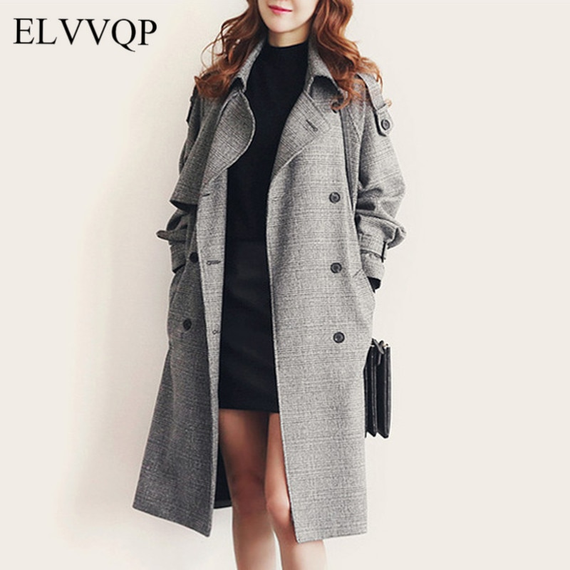 Abrigos coreanos de lana de Invierno Para Mujer de talla grande Casual largo de cuadros abrigo de lana Casacas Para Mujer Invierno 2018 abrigo de lana NW471