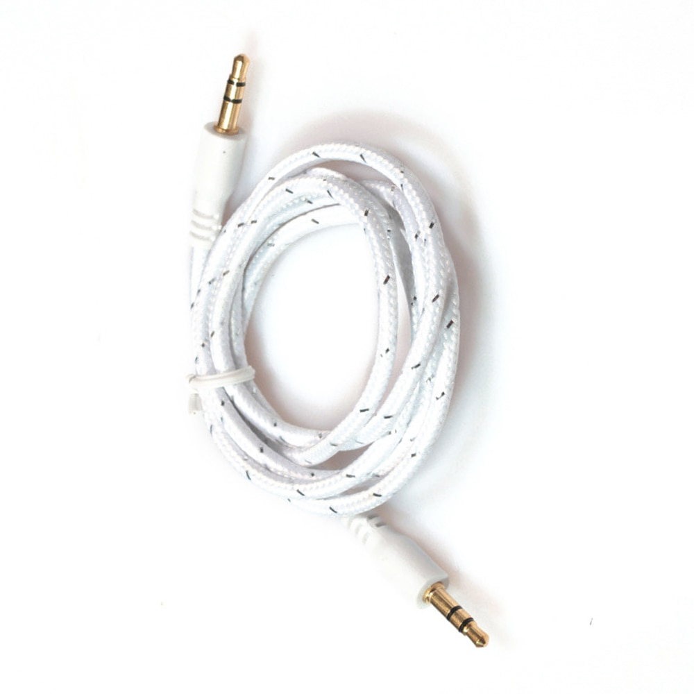 HFES 1 M 3.5mm Macho para Macho Stereo Jack Cabo de Áudio Auxiliar Aux Chumbo Para Carro smart Phone, branco