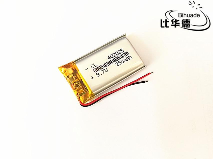 5 unidades/unids/lote 3,7 V 250 mAh 402035 polímero de litio li-po li-ion pilas recargables para Mp3 MP4 MP5