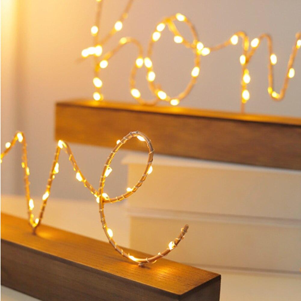 Luz nocturna de alambre de estilo nórdico, Lámpara decorativa con letras Love/Home para sala de estar CLH @ 8