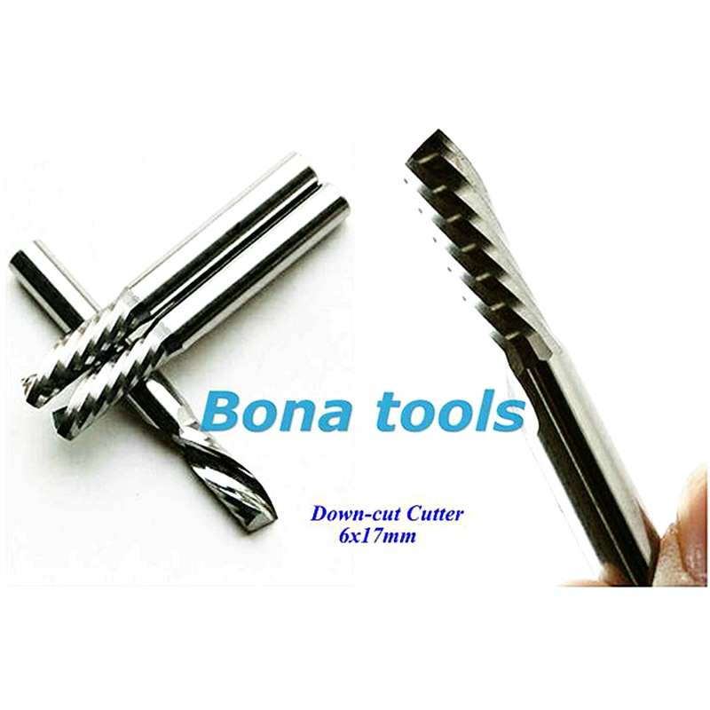 Buen corte hacia abajo 6*17mm solo flauta espiral Router Bit sólido cortador de fresado de carburo, carpintería mm broca para fresa para madera