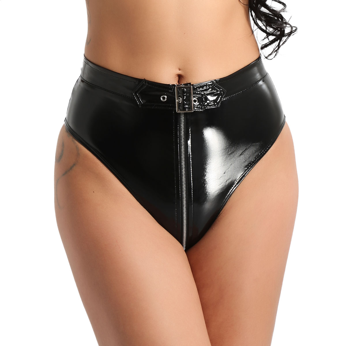 Underwear Women Sexy Lingerie Female Panties Wet Look PVC Leather Under Wear High Cut Front Zippered with Belt Briefs Underpants