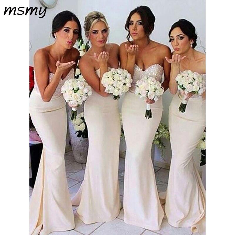 New Simple Mermaid Sweetheart  Bridesmaid Dresses Sleeveless Cheap Long Bridesmaid Dresses Custom Made