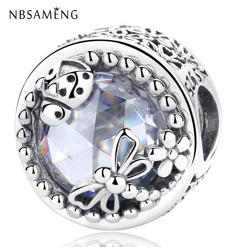 Nuevo cuenta en plata esterlina 925 de naturaleza encantada con Ladybirds y libélulas, abalorio compatible con pulseras Pandora, brazaletes para mujer, joyería DIY