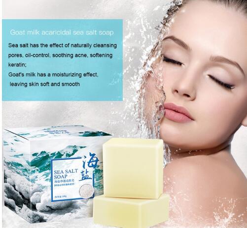 100g Sea Salt Soap Cleaner Removal Pimple Pores Acne Treatment Goat Milk Moisturizing Face Care Wash Basis For Soap Savon C021