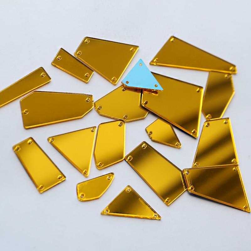 19 Style Mixable Shapes mirror sew on rhinestones 30pcs/set flat back acrylic Sew-on Stone for Dress decorations