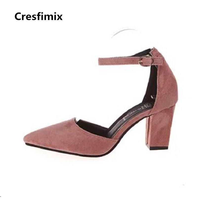 Cresfimix femmes hauts garras dama casual de alta calidad 2018 hebilla tacón alto zapatos femeninos cómodos parte de tacón alto b2917
