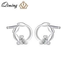 QIMING Tiny Zircon Stud Earrings For Women Ladies CZ Crystal Simple Korean Circle Fashion Earring fashion Jewelry Gift Baby