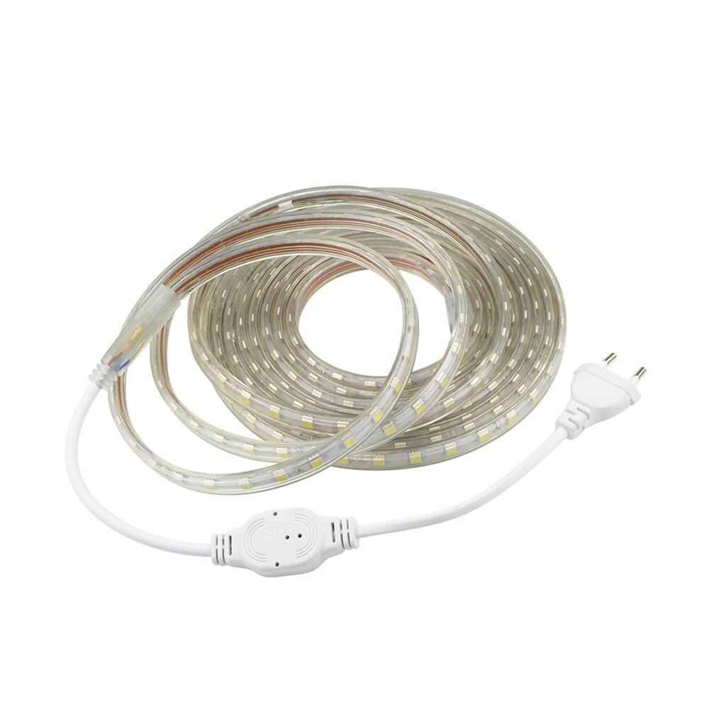 Tira de luces led de 1-25 m, 220 V, 230 V, para interior y exterior, 5050 60 ledes/m, cinta de luces led de viaje flexible impermeable para cocina, hogar, pared