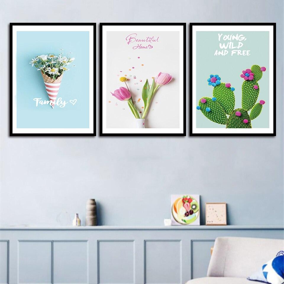 Tulipas rosa E Pinturas Cactus Impressão Margarida Flores Bouquet Nordic Parede Pictures Poster Da Arte Da Lona Sala de estar Fresco Home Decor