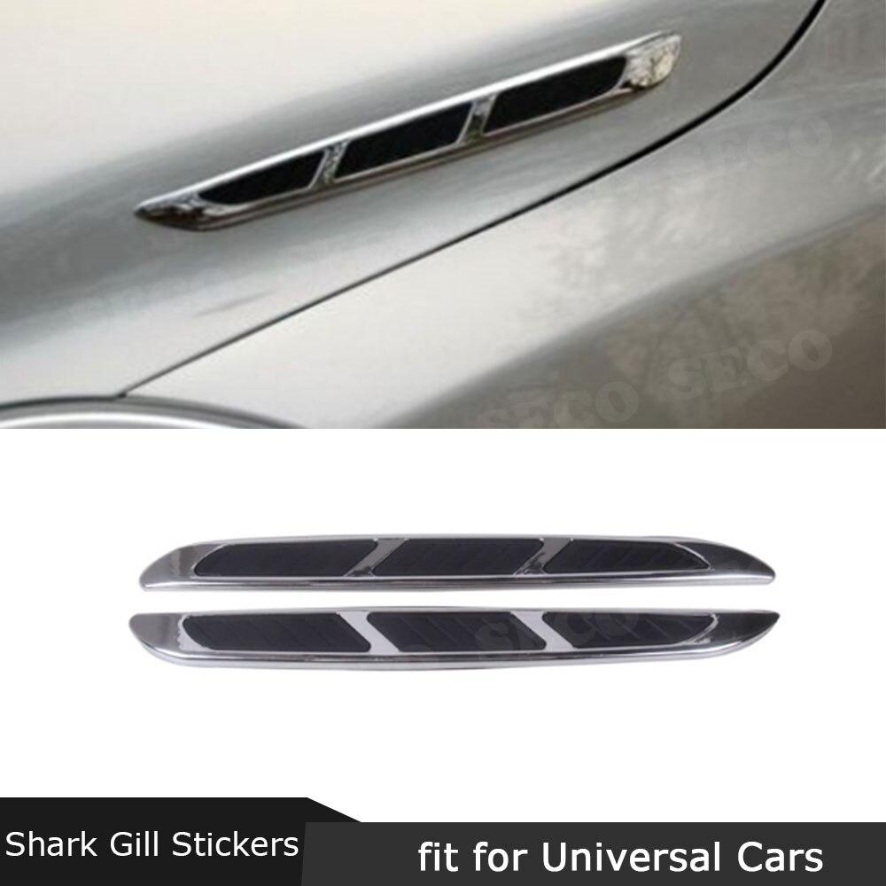 2pcs 3D Sticker Car Hood Chrome Grille Shark Gill Simulation Air Flow Vent Fender Decal Auto Decoration Stickers