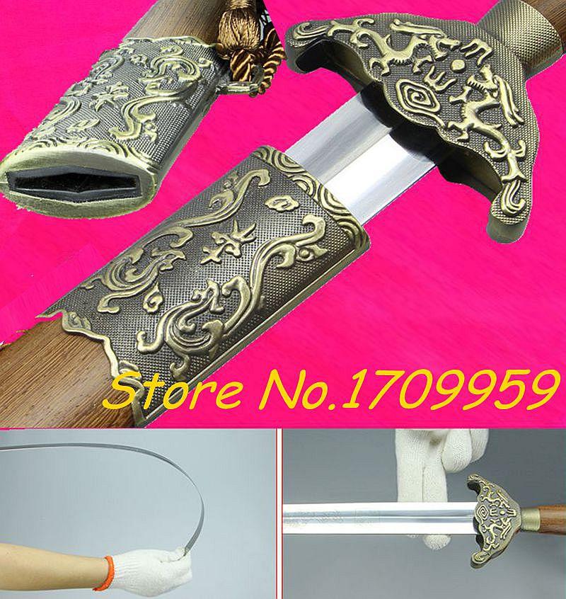Espadas de regalo decorativas para el hogar, hoja de acero inoxidable de espiga completa, Flexible para la práctica china de WuShu/TaiChi, espada de dragón Jian