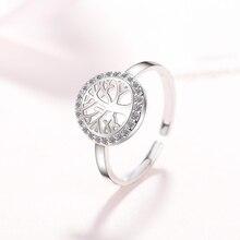 925 bague en argent Sterling cristal Design romantique arbre de vie ouvert prévenir lallergie doigt femmes anneaux bijoux en argent Sterling