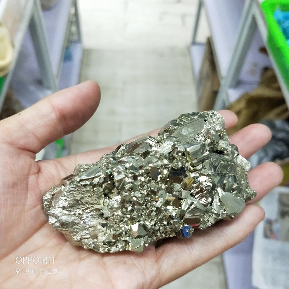 Piedra de cristal Natural de alta calidad, 360-380g, pirita de oro, hierro, minerales, pirita, cubo, espiga, curacion, cristales, pirita