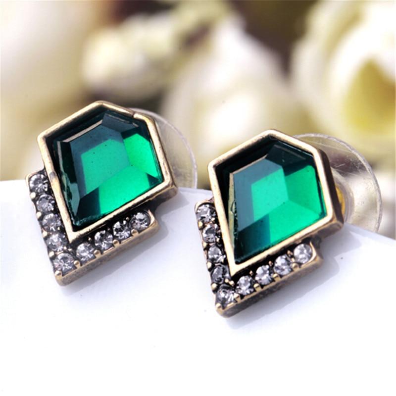 Женские акриловые серьги-гвоздики с драгоценными камнями, элегантные геометрические серьги-гвоздики с драгоценными камнями, новый дизайн