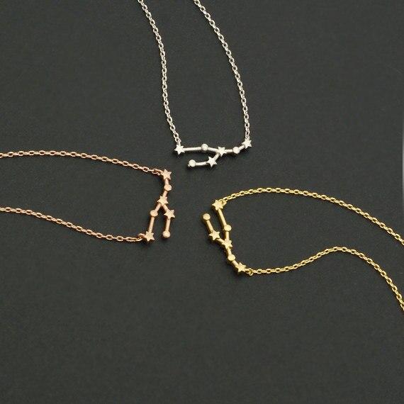 Collar sencillo con signo del Zodíaco de Tauro, collar de astrología con constelación, collares de estrellas, regalo para mujer