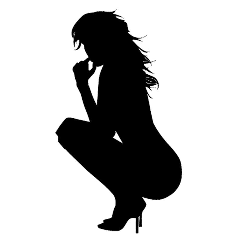 Chica Sexy señora desnuda en cuclillas de vinilo etiqueta pegatina coche parachoques para puerta ventana de camión tapa del tanque de combustible para computador portátil, Kayak coches de diseño de pared