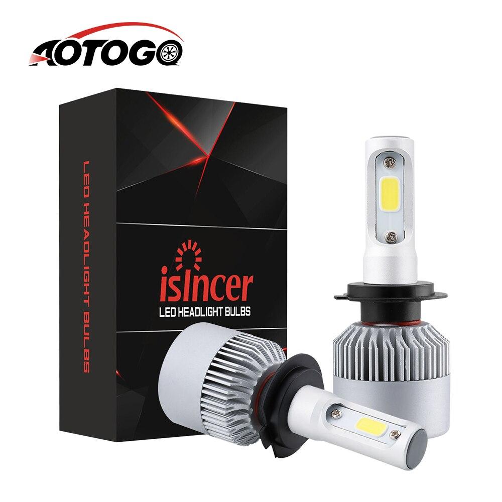 2 uds H7 LED Turbo H4 bombillas de faro delantero de coche COB LED H1 H11 H3 H13 H27 9005 HB3 9006 HB4 9007 72W 8000LM 6000K 12V 24V Auto Voiture