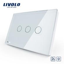 Norme Livolo US/AU, VL-C303DR-81 de commutation sans fil, écran tactile en verre cristal, variateur et interrupteur déclairage mural à distance