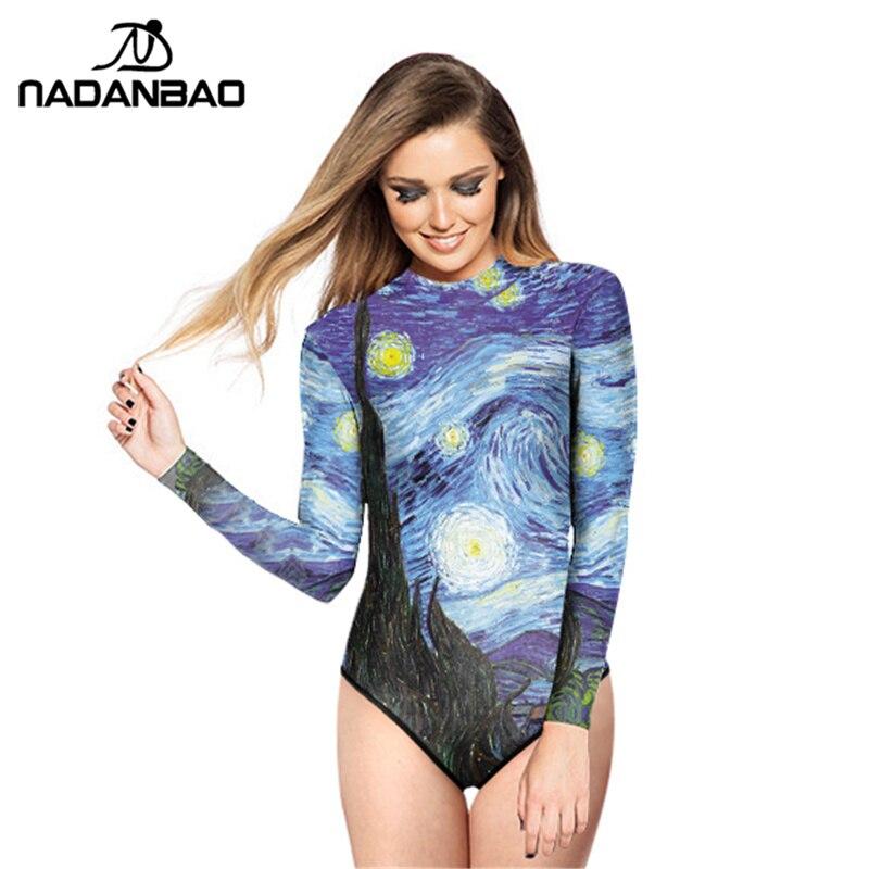 Novo estilo bodysuit beach wear van gogh impresso mulheres banho loog manga com zíper um pedaço maiô y02016