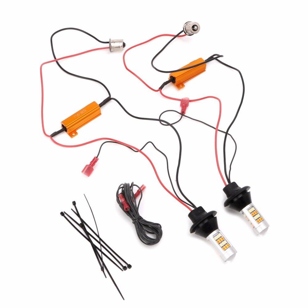 1 par BAU15S PY21W T20 doble Color blanco/ámbar amarillo Switchback luz LED de intermitente + Canbus gratis de Error con resistencia DRL Auto